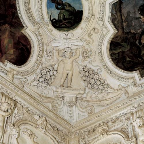 Bernardino Quadri - Particolare degli stucchi della volta della Sala delle Cacce infernali