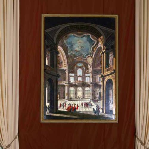 Giovanni Battista Bagnasacco - Giovanni Comandù, Veduta del salone centrale della Palazzina di Caccia di Stupinigi, 1798 Da Torino, Palazzo Reale