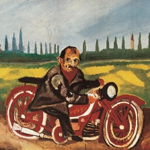 Antonio Ligabue Autoritratto sulla moto, 1953. Courtesy Fondazione Archivio Ligabue, Parma