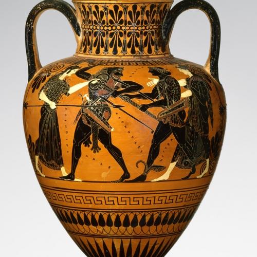 Eracle disputa ad Apollo il tripode di Delfi - Anfora attica a figure nere attribuita a Pittore di Antimene 510 A.C. ca.