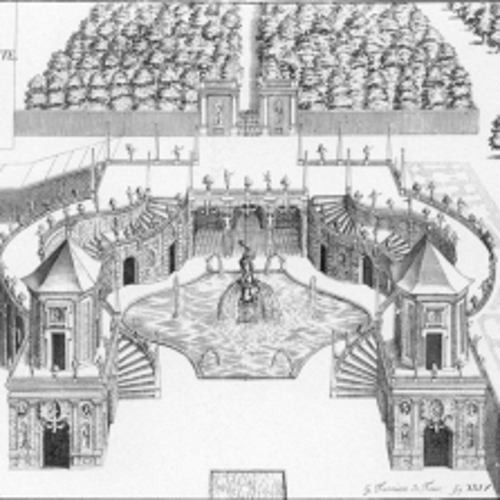 Veduta delle scale e delle grotte della Fontana d'Ercole, Theatrum Sabaudiae 1682
