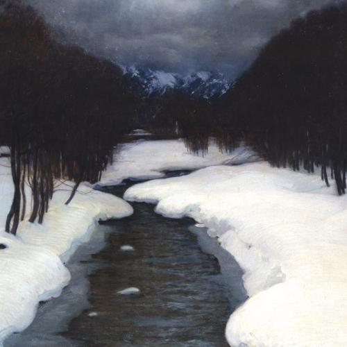 Giuseppe Bozzalla, Il torrente d'inverno, 1910. Torino, GAM – Galleria Civica d'Arte Moderna e Contemporanea.