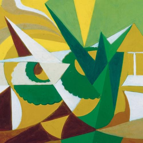 Giacomo Balla, Linee forze di paesaggio (Simultaneità di sensazioni: cielo+case+alberi+fiori), 1918. Bergamo, Galleria d'Arte Moderna e Contemporanea.