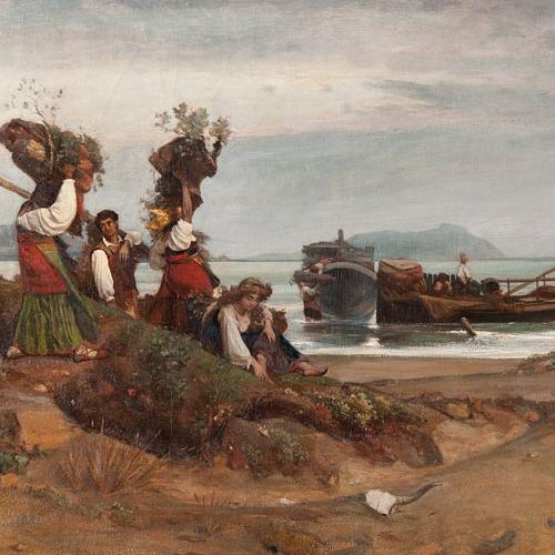 Nino Costa, Donne che imbarcano legna nel Porto di Anzio, 1852. Roma, Galleria Nazionale d'Arte Moderna e Contemporanea.