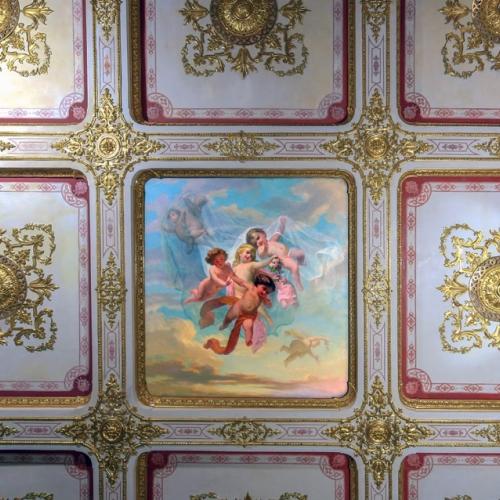Soffitto a cassettoni con riquadri a rosoni dorati. Camera da letto della duchessa, Appartamenti reali del Castello della Mandria