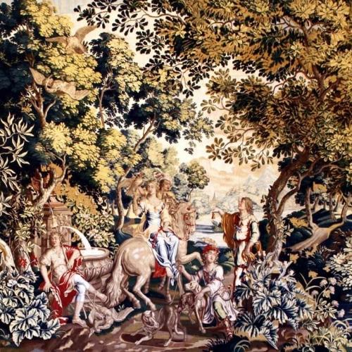 Manifattura di Bruxelles, Diana a cavallo, arazzo in lana e seta, 1660-1680. Collezione Intesa Sanpaolo, in comodato alla Reggia di Venaria, Sala dei Templi famosi dedicati a Diana