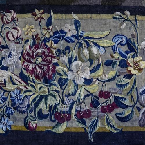 Manifattura di Bruxelles, Diana a cavallo, arazzo in lana e seta, 1660-1680, particolare. Collezione Intesa Sanpaolo, in comodato alla Reggia di Venaria, Sala dei Templi famosi dedicati a Diana