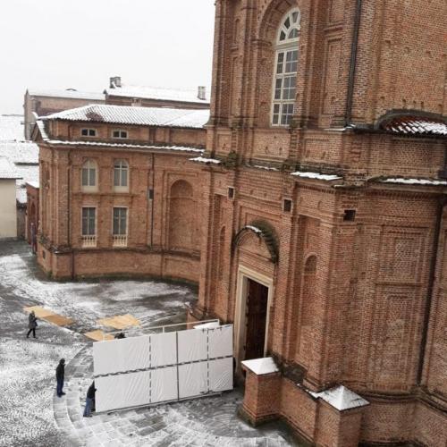 Trasporto del dipinto dal Centro Conservazione e Restauro alla Cappella di Sant'Uberto
