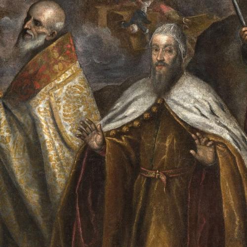 La Battaglia di Lepanto, particolare con papa Pio V e Alvise I Mocenigo doge di Venezia