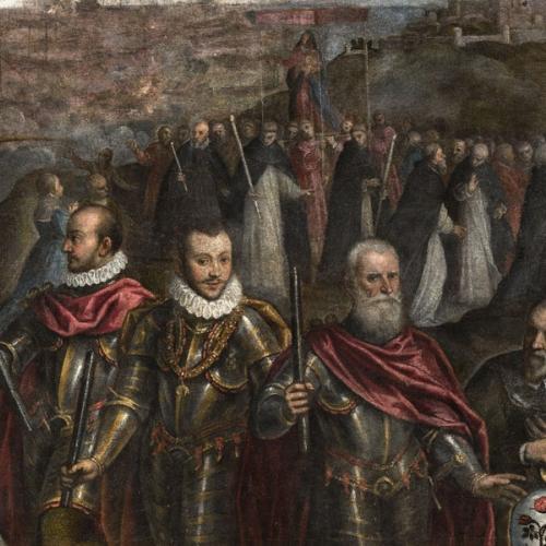 La Battaglia di Lepanto, particolare della processione e in primo piano gli ammiragli Marcantonio II Colonna, don Giovanni d'Austria, Sebastiano Venier e il pittore Palma il Giovane