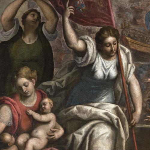 La Battaglia di Lepanto, particolare con le tre Virtù teologali, Carità, Speranza, Fede