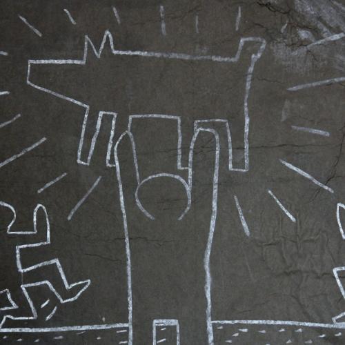 Keith Haring, Subway Drawings, Untitled (man holding a dog), 1980, gesso su lavagna applicato su tela