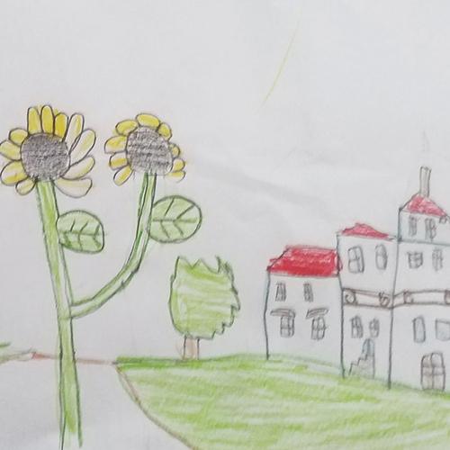 Disegno della Reggia e dei Giardini con fiori in primo piano, Gabriele, 8 anni