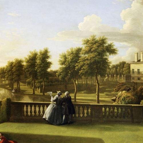 W. Hogarth, G. Lambert, Veduta della villa e del giardino di Chiswick, 1742, Londra, English Heritage, Chiswick House