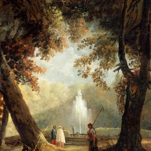 Hubert Robert, Il grande getto d'acqua della villa Conti (Aldobrandini) a Frascati, oilio su tela, 1761, Besançon, Musée des Beaux Arts et d'Archéologie