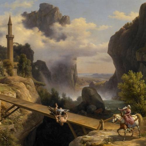 Giuseppe Bisi, Orlando e Rodomonte combattono alla presenza di Fiordiligi, 1838 olio su tela