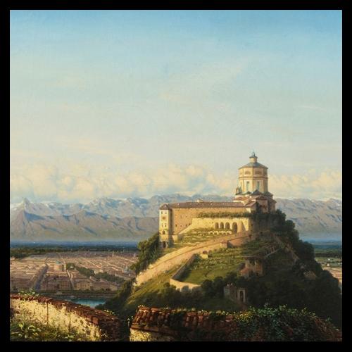 Francesco Gamba, Panorama di Torino dalla villa Barbaroux, 1851, olio su tela
