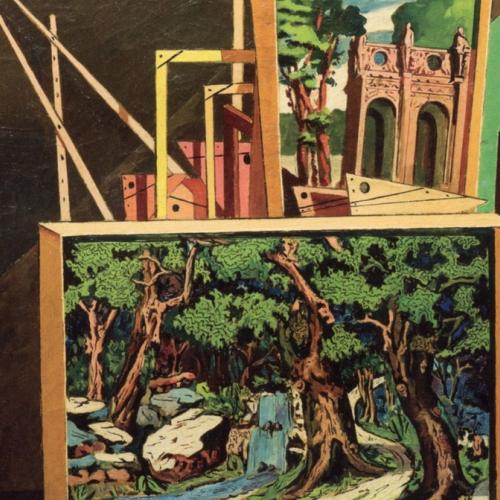 Giorgio de Chirico, Interno metafisico (con alberi e cascata), 1918, olio su tela