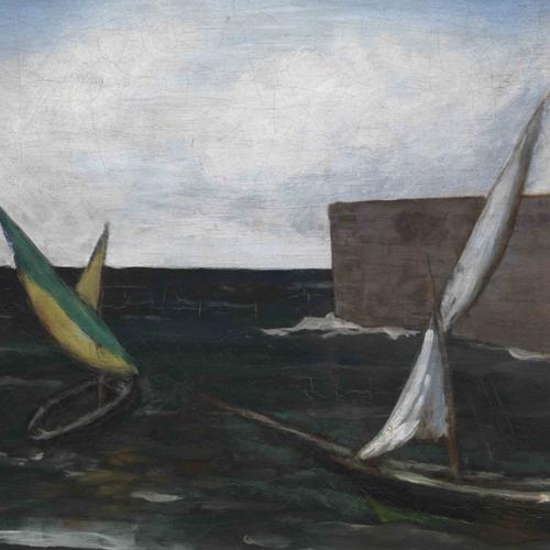 Carlo Carrà, Vele nel porto, 1923, olio su tela