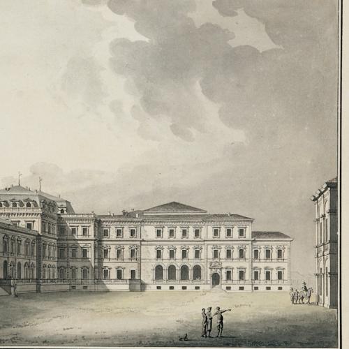 Carlo Randoni (Torino 1755-1831), Vue de l'entrée au Château de la Venarie (Veduta della Corte d'onore di Venaria Reale), acquerello e inchiostro su carta, 1801 circa. Racconigi, Castello, in deposito alla Reggia di Venaria, sala napoleonica