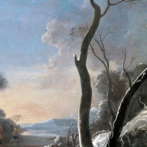 Jan Miel, Caccia alla volpe, olio su tela, 1659-1661, cm 210x132, particolare. Venaria Reale, Reggia, Sala di Diana, parete ovest (in comodato da Palazzo Madama – Museo Civico d'Arte Antica di Torino)