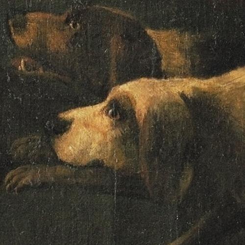 B. Mathieu, Caterina Isnardi di Caraglio marchesa di Caluso e Delibera Eleonora San Martino di Parella marchesa di Rodi, part. cani da caccia