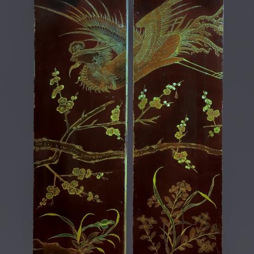 Manifattura orientale, Pannello in legno laccato, metà del sec. XVIII. Gabinetto di toeletta del duca