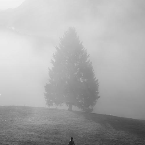 Emma, 6 anni, corre tra i campi di fronte alla cascina nella quale abbiamo trascorso il periodo di quarantena in famiglia, per via della pandemia da coronavirus. Svizzera, 2020. ©Paolo Pellegrin/Magnum Photos