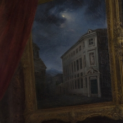 Il ritratto di Maria Adelaide d'Asburgo Lorena, particolare con la veduta dell'Educatorio della Provvidenza