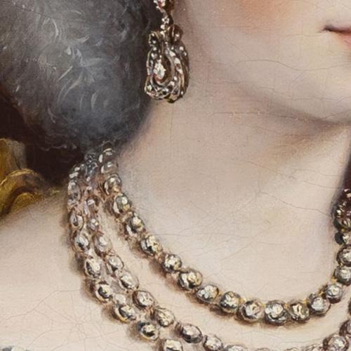Il ritratto di Maria Adelaide d'Asburgo Lorena, particolare dei gioielli