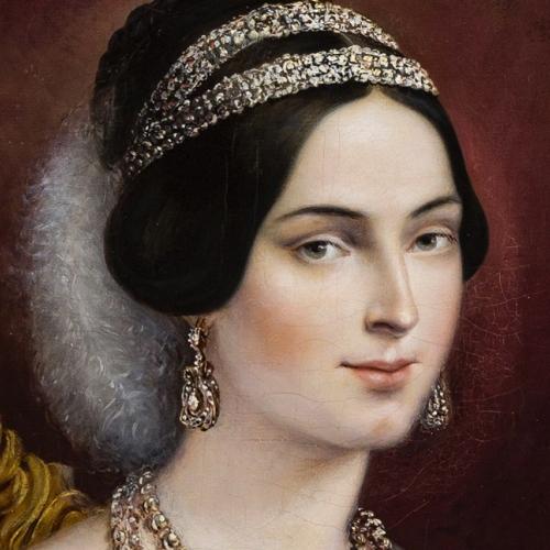 Il ritratto di Maria Adelaide d'Asburgo Lorena, particolare del volto