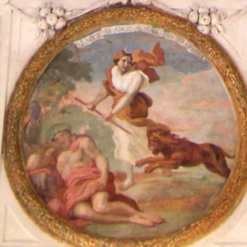 La volta della Sala di Diana, particolare 'Soccorre anco al nimico un cor gentile'
