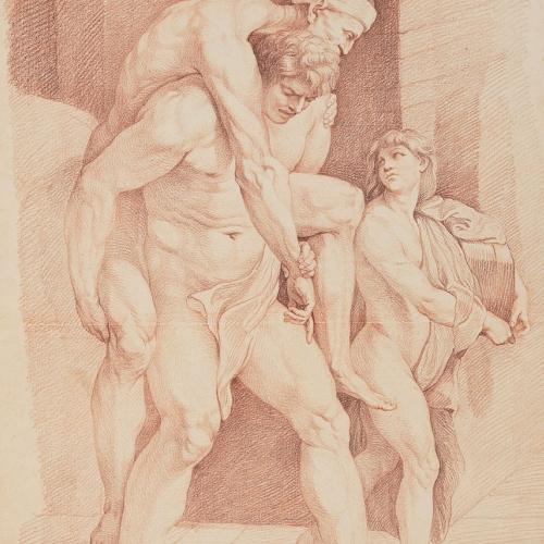 Edme Bouchardon (da Raffaello) Enea, Anchise e Ascanio, sanguigna. Parigi, Musée du Louvre