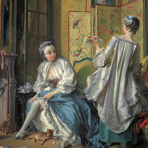 François Boucher, Donna che si mette la giarrettiera, 1742, Madrid, Museo Thyssen-Bornemisza