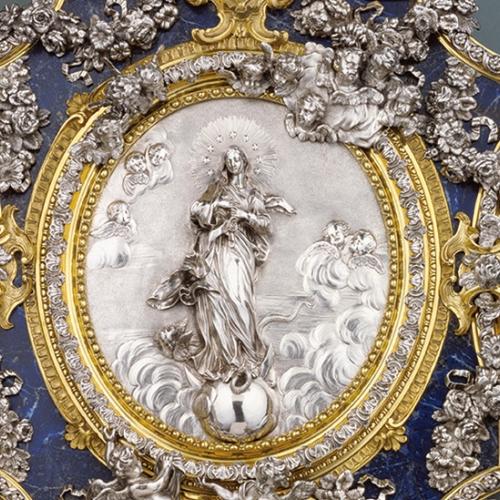Francesco Natale Juvarra, Placca raffigurante l'Immacolata Concezione, 1735-1745 circa, argento, bronzi dorati, lapislazzuli, Los Angeles, The J. Paul Getty Museum.