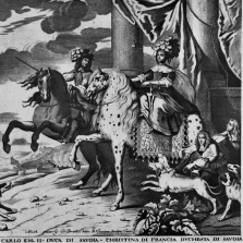 G. Tasnière, su disegno di G.B. Brambilla, Carlo Emanuele II di Savoia e Cristina di Francia, da B. Mathieu, incisione, 1674-1679, da A. di Castellamonte, Venaria Reale. Palazzo di piacere, e di caccia, Torino 1674, ma 1679