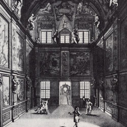 Georges Tasnière su disegno di Giovan Battista Brambilla. Parte interiore della sala coi suoi ornamenti di pitture, e sculture della Reggia di Diana (Veduta interna del Salone di Diana)