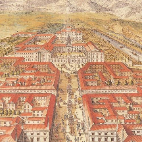 G. T. Borgonio (disegno) e incisore anonimo, Veduta della Reggia di Venaria, part. da  Theatrum Statuum Regiae Celsitudinis Sabaudiae Ducis, Amstelodami, Haeredes Blaeu, 1682. vol. 1, tav. 37.